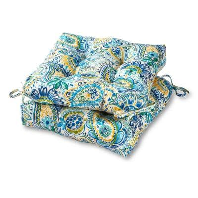 Painted Paisley Baltic Square Tufted Outdoor Seat Cushion (2-Set)