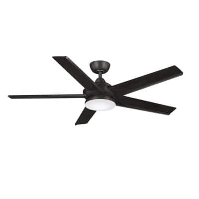 Subtle 56 in. Integrated LED Dark Bronze Ceiling Fan with Light Kit and Remote Control