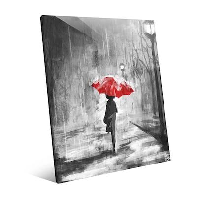 "20 in. x 24 in. ""A Rainy Walk Red Umbrella"" Acrylic Wall Art Print"