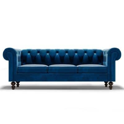 Lissoni 83 in. x 28.9 in. Velvet Rectangle Round Arm 3-Seater Chesterfield Straight Reclining Sofa in Dark Blue