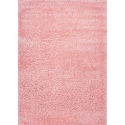 Gynel Solid Shag Baby Pink 4 ft. x 6 ft. Area Rug