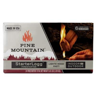 StarterLogg Firestarter, Indoor and Outdoor Wood Fire in Fireplace, Campfire, Wood Stove, Fire Pit (24-Pack)