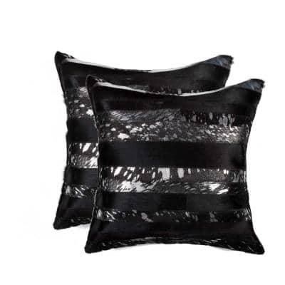 Josephine Gold Striped 18 in. x 18 in. Cowhide Throw Pillow (Set of 2)