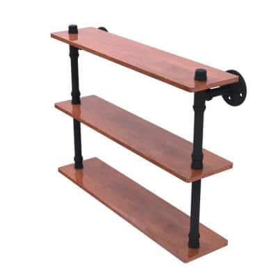 Pipeline Collection 22 in. Ironwood Triple Shelf in Matte Black