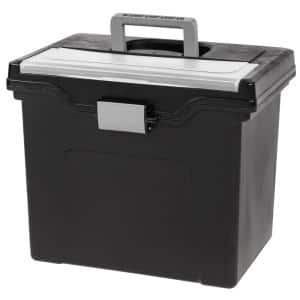 24 Qt. Portable Letter Size File Storage Box in Black