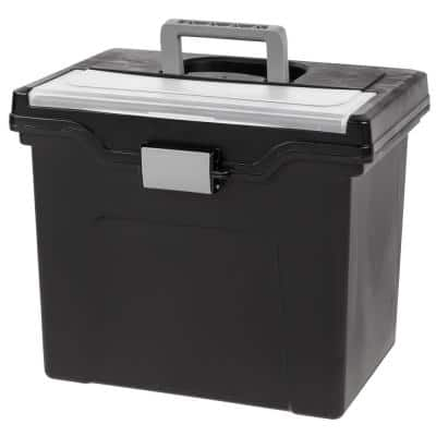 24 Qt. Portable Letter Size File Storage Box in Black