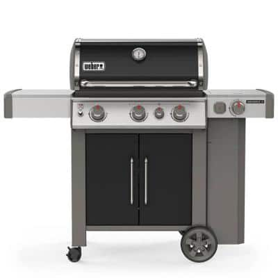 Genesis II E-335 3-Burner Propane Gas Grill in Black with Built-In Thermometer and Side Burner