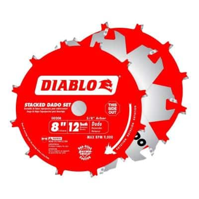 8 in. x 12-Teeth Stacked Dado Saw Blade Set