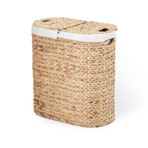 Water Hyacinth Oval Double Hamper, Hand-Woven