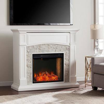 Ernesto Alexa-Enabled 45.75 in. Electric Smart Fireplace in White