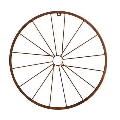 22 in. Rustic Copper Metal Vintage Bicycle Wheel Wall Art Decor