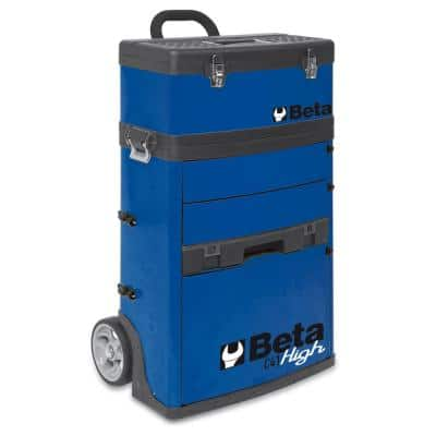 21 in. Mobile Tool Utility Cart with 3 Slide-Out Drawers and Removable Top Box with Carry Handle in Blue