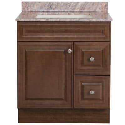 Glensford 31 in. W x 22 in. D Bath Vanity in Butterscotch with Stone Effects Vanity Top in Cold Fusion with White Sink