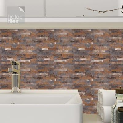 6-sheets Rustic Brown 11.5 in. x 11.75 in. Peel & Stick Decorative Metallic Wall Tile Backsplash [6 sq.ft. / pack]