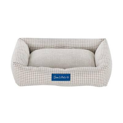 Arlo Small Brown Plaid Bolster Dog Bed