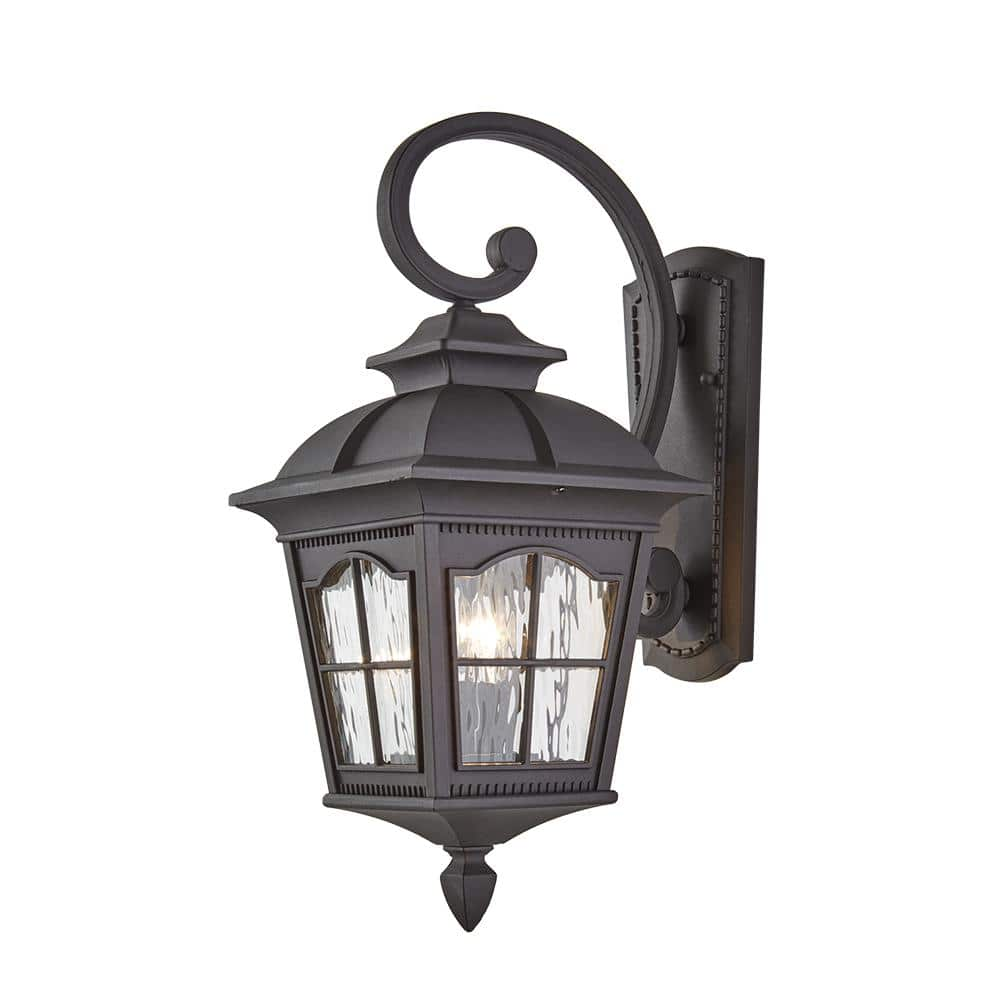 Home Decorators Collection Loridan Square 2 Light Black Outdoor Wall Lantern Sconce With Clear Water Glass W Kb9245 The Home Depot