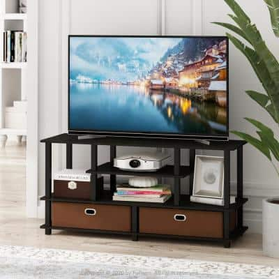 JAYA 48 in. Espresso Particle Board TV Stand Fits TVs Up to 50 in. with Cable Management