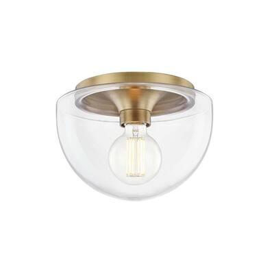 Grace 1-Light 10 in. Aged Brass Flush Mount