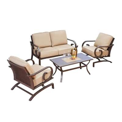 Milano 4-Piece Aluminum Patio Deep Seating Set with Tan Cushions