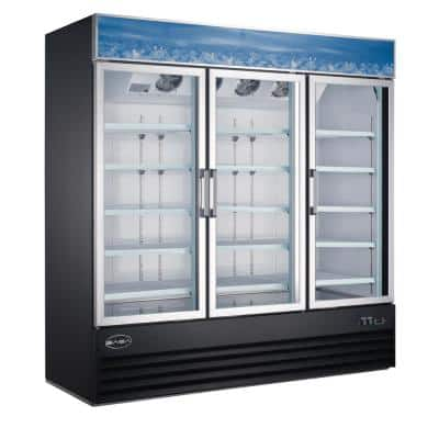 78 in. W 63 cu. ft. Three Glass Door Commercial Merchandiser Refrigerator Reach In in Black
