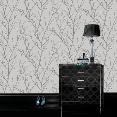 Water Silk Sprig Silver Wallpaper Sample