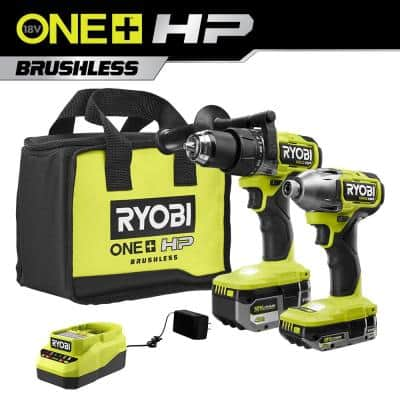 ONE+ HP 18V Brushless Cordless 1/2 in. Hammer Drill and 1/4 in 4-Mode Impact Driver Kit w/ (2) Batteries, Charger, & Bag
