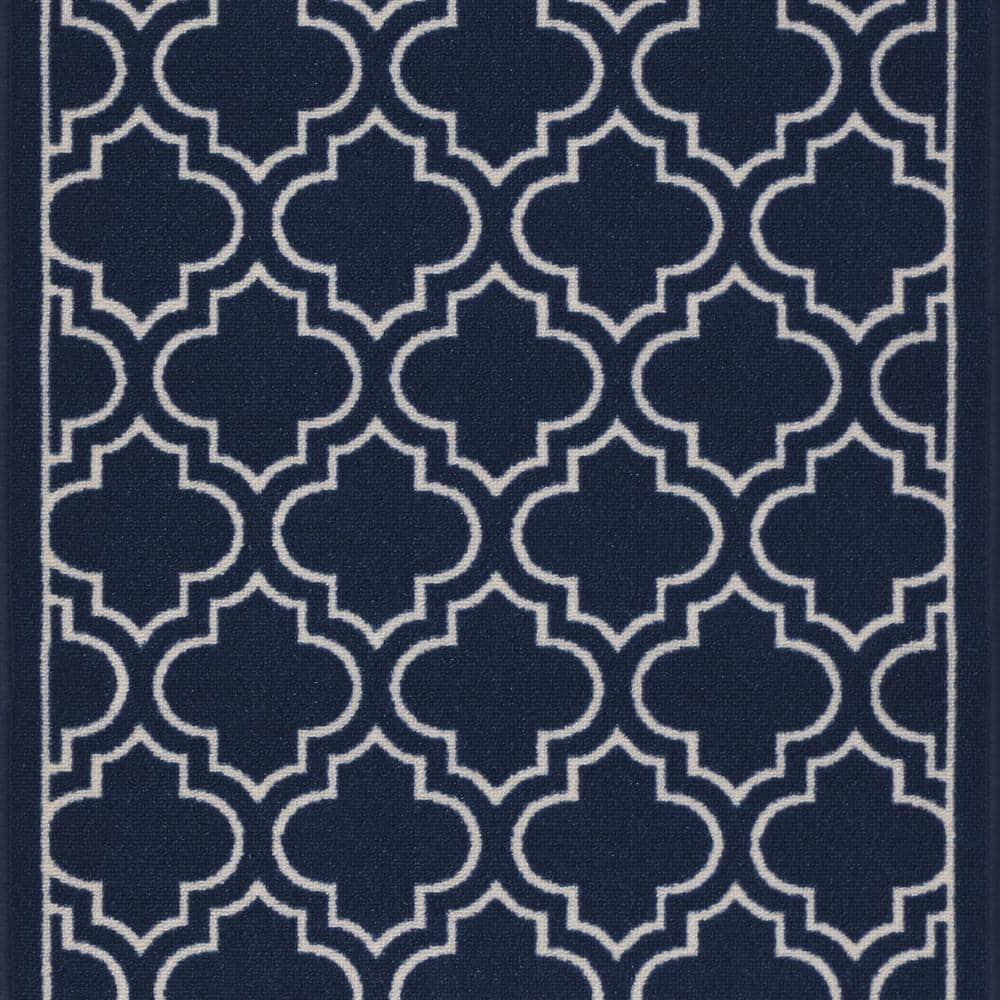 Trafficmaster Trellis Navy 2 Ft 2 In X Your Choice Length Roll Runner Mt1004422us The Home Depot