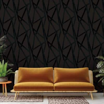 Genevieve Gorder Intersections Black Peel and Stick Wallpaper (Covers 56 sq. ft.)