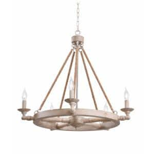 Timone 5-Light Weathered White Chandelier