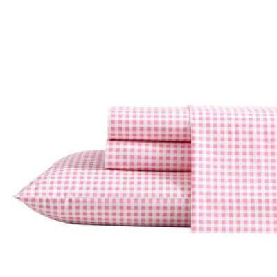 Gingham Plaid 4-Piece Bright Pink Percale Cotton Full Sheet Set