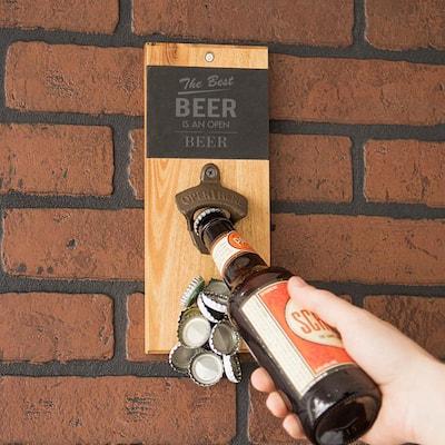Open Beer Acacia and Slate Wall Mount Bottle Opener