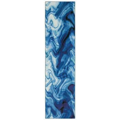 Wavelength Water 2 ft. 6 in. x 6 ft. Abstract Runner Rug