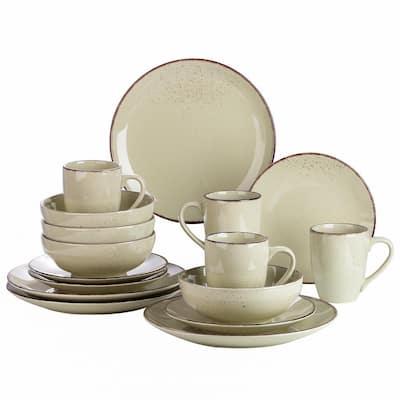 Series Navia Nature Dinner Set 16-Pieces Vintage Beige Prcelain with Dinner/Dessert Plate/Cereal Bowl /Mug Service for 4