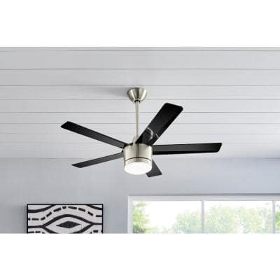 Merwry 48 in. Integrated LED Indoor Brushed Nickel Ceiling Fan with Light Kit and Remote Control