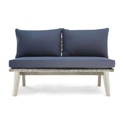 Balmoral Weathered Gray Wood Outdoor Loveseat with Gray Cushion