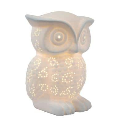 9.84 in. White Porcelain Wise Owl Shaped Table Lamp