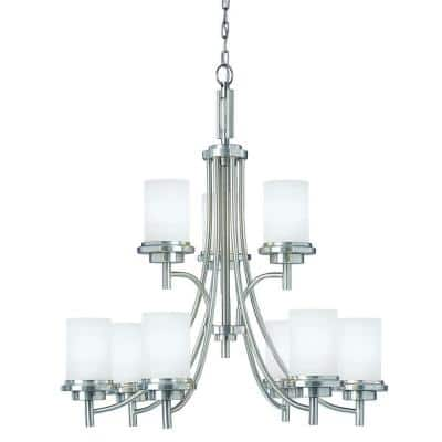 Winnetka 9-Light Brushed Nickel Transitional Modern Hanging Chandelier