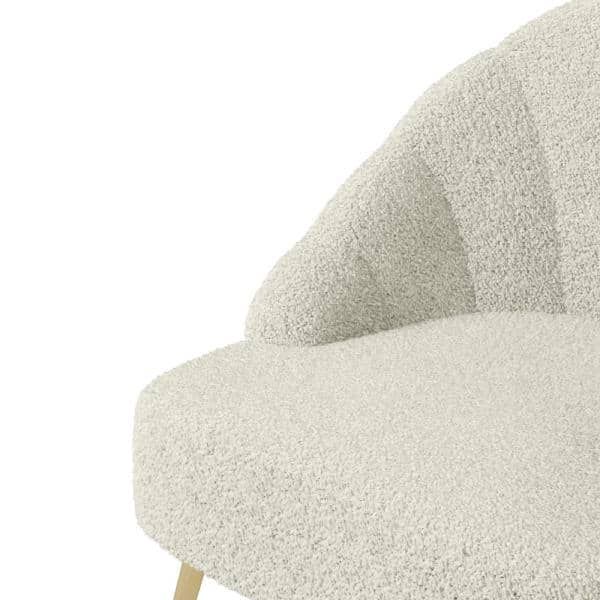 Handy Living - Appleby in Cream Faux-Shearling Fabric Modern Channel Tufted Shell Chair