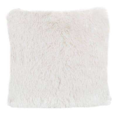 White 24 in. W x 24 in. L Faux Fur Square Shag Throw Pillow