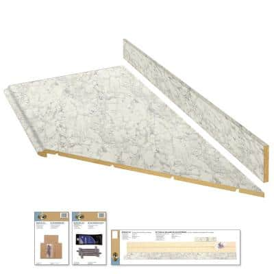 8 ft. White Laminate Countertop Kit With Right Miter and Full Wrap Ogee Edge in Marmo Bianco Marble