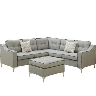 Palermo Light Gray Fabric 4-Seater L-Shaped Sectional Sofa with Ottoman