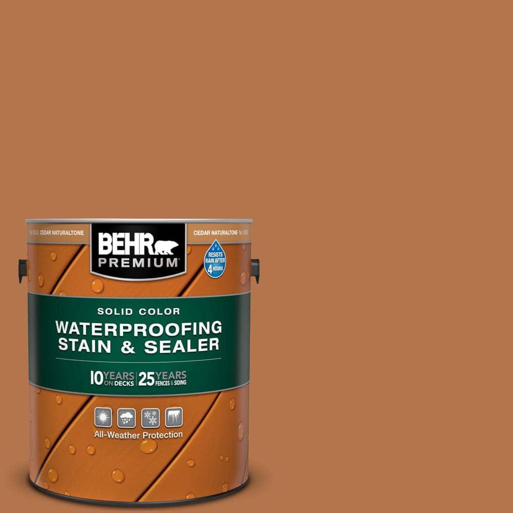 BEHR PREMIUM 1 gal. #SC-533 Cedar Naturaltone Solid Color Waterproofing Exterior Wood Stain and Sealer