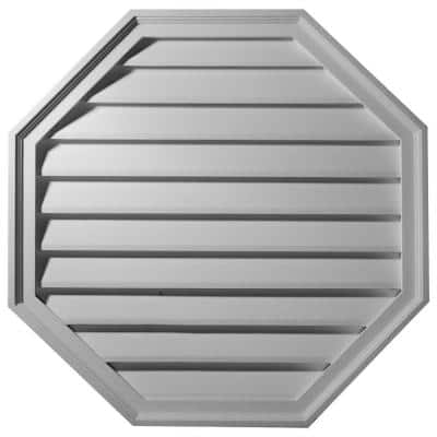 30 in in. x 30 in. Octagon Primed Polyurethane Paintable Gable Louver Vent Functional