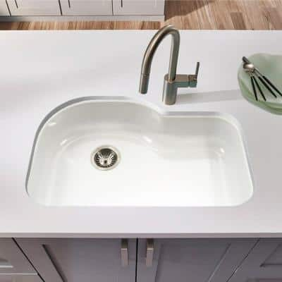 Porcela Series Undermount Porcelain Enamel Steel 31 in. Offset Single Bowl Kitchen Sink in White