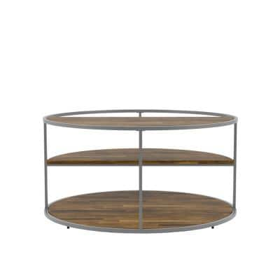 Henvale 35.38 in. Gray Round Wood Coffee Table