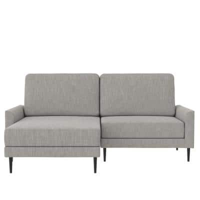 Francis 1-Piece Light Gray Linen Upholstered L- Shaped Reversible Sectional Sofa with Interchangeable Chaise