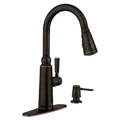 Coretta Single-Handle Pull-Down Sprayer Kitchen Faucet with Reflex and Power Boost in Mediterranean Bronze