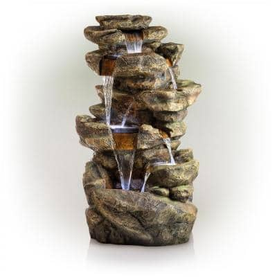 51 in. Tall Outdoor 6-Tier Amazonian Rainforest Waterfall Fountain with 30 LED Lights