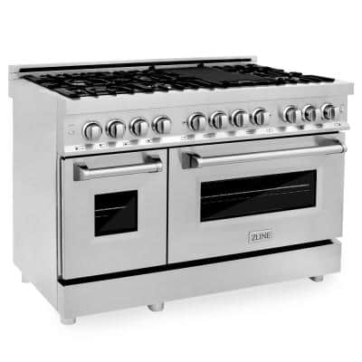 ZLINE 48 in. 6.0 cu. ft. Dual Fuel Range with Gas Stove and Electric Oven in Stainless Steel (RA48)
