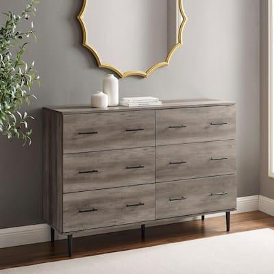 Modern Wood 6-Drawer Buffet - Grey Wash